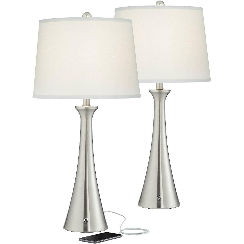 360 Lighting Karl Full Range Dimmer Brushed Nickel Lamp Set Of 2 With Usb In 2020 Nickel Lamps Lamp Sets Lamp