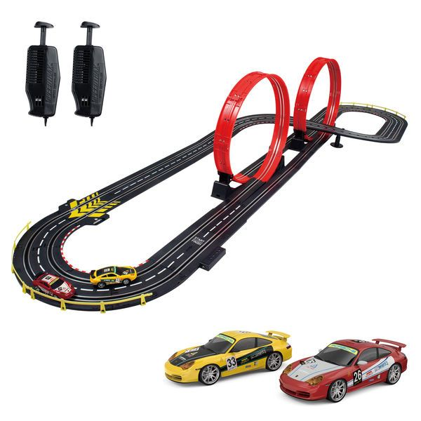 Kids Car Race Set Toys Raceway Track Loops Slot Indoor Electric Racing Running