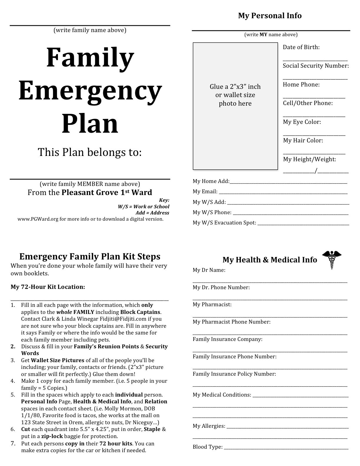 family emergency plan printable documents for your emergency binders emergency preparedness. Black Bedroom Furniture Sets. Home Design Ideas