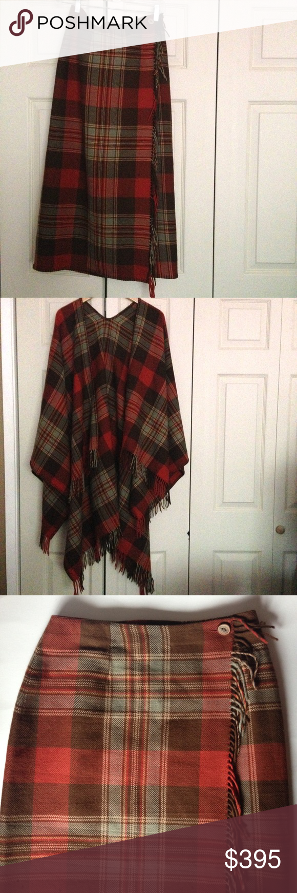 Vintage Ralph Lauren Country Skirt and Wrap Gorgeous Vintage Ralph Lauren Country Wool Plaid Wrap Skirt and Wrap/Scarf Set. Very Beautiful and Lovely. Wrap has Beautiful Wood Button and Fringe Down Length. Stitched at Bottom Edge for Added Detail. The Wrap Blanket Scarf adds More Richness to the Set. Fringe along the Edged. Gorgeous Plaid in Warm Earth Tones. This is an Exceptional Set. Classic Ralph Lauren. Perfect for theses Colder Days.❤️ Ralph Lauren Country Skirts Maxi