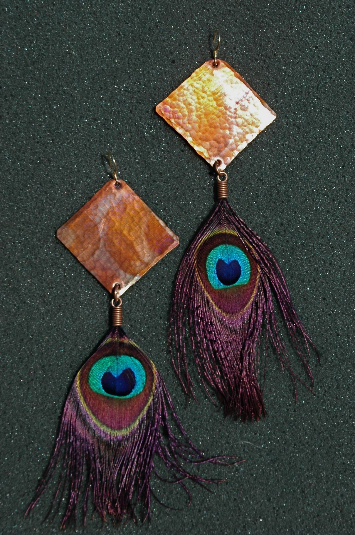 Hammered copper diamond peacock eye feather earrings immortal