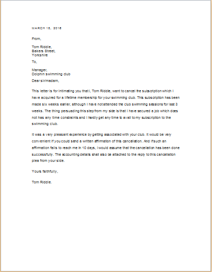 Service Cancellation Letter Templates Word Amp Excel Template Free
