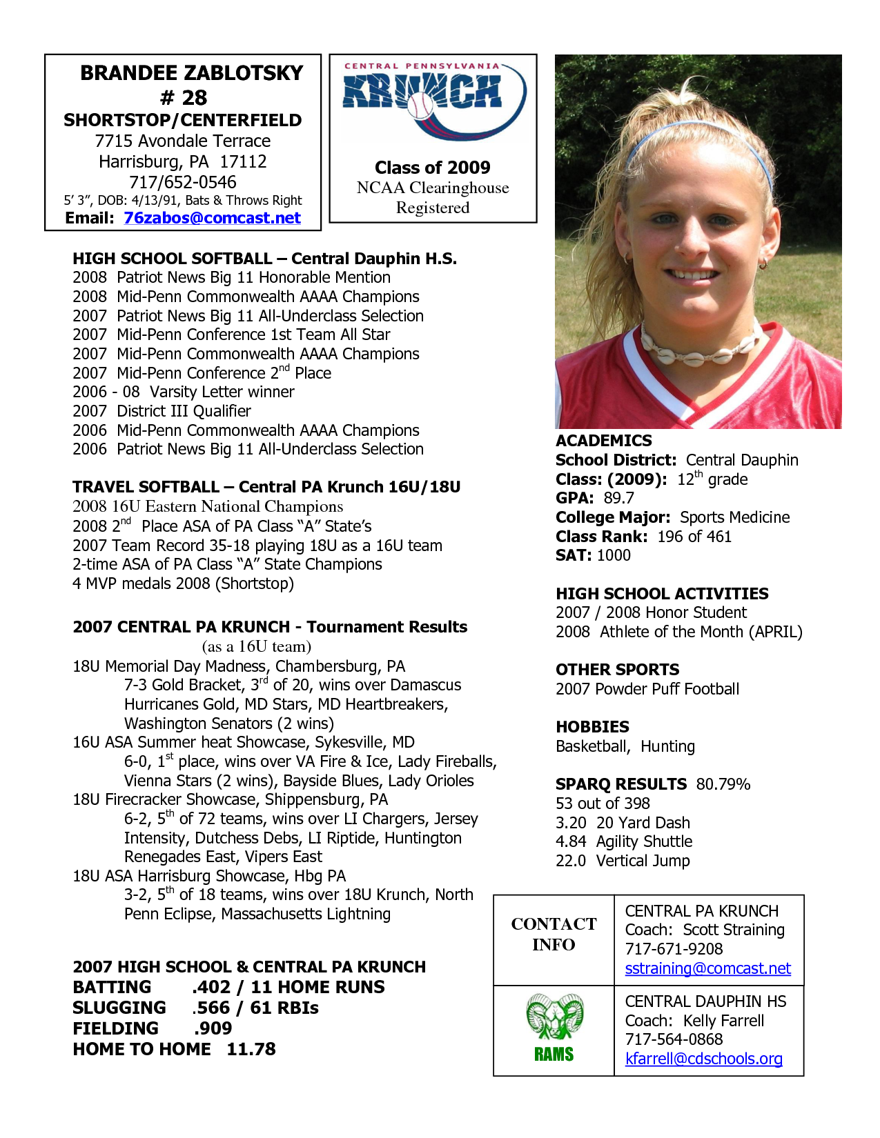 Softball Profile Sample Player Central Pennsylvania Krunch