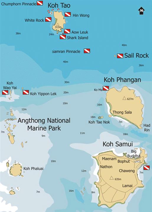 Diving a ko samui ko phangan e ko tao dive sites maps dive sites maps pinterest ko - Koh tao dive sites ...