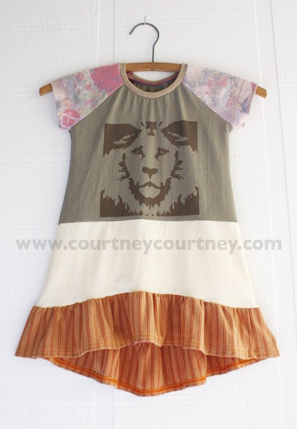 roar #courtneycourtney #eco #upcycled #recycled #repurposed #tshirt #vintage #dress #girls #unique #clothing #ooak #designer #upscale  #fashion #lion #high #low #waterfall #cascade #hem