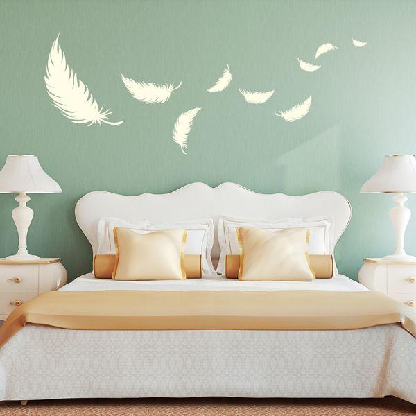 Wandtattoo Deko Federn Schlafzimmer Feder 55x144cm Bed room - schlafzimmer deko bilder