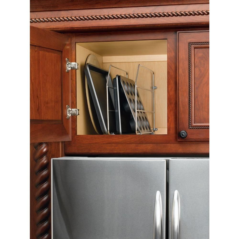 Rev A Shelf 12 In H X 0 75 In W X 20 In D Single Chrome Bakeware And Tray Divider 597 12cr 52 The Home Depot Rev A Shelf Shelves Cabinets Organization