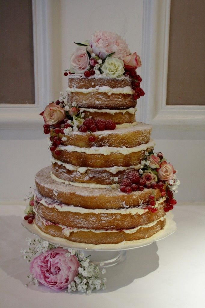 SylviasKitchen WeddingCakes Jenny 9Three Tier Naked Style Wedding Cake Vanilla And Raspberry Fresh