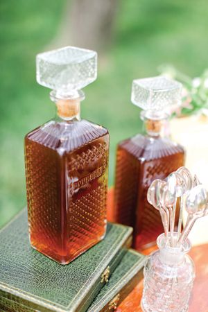 vintage bourbon bottles...Could be filled  with iced tea or apple juice...