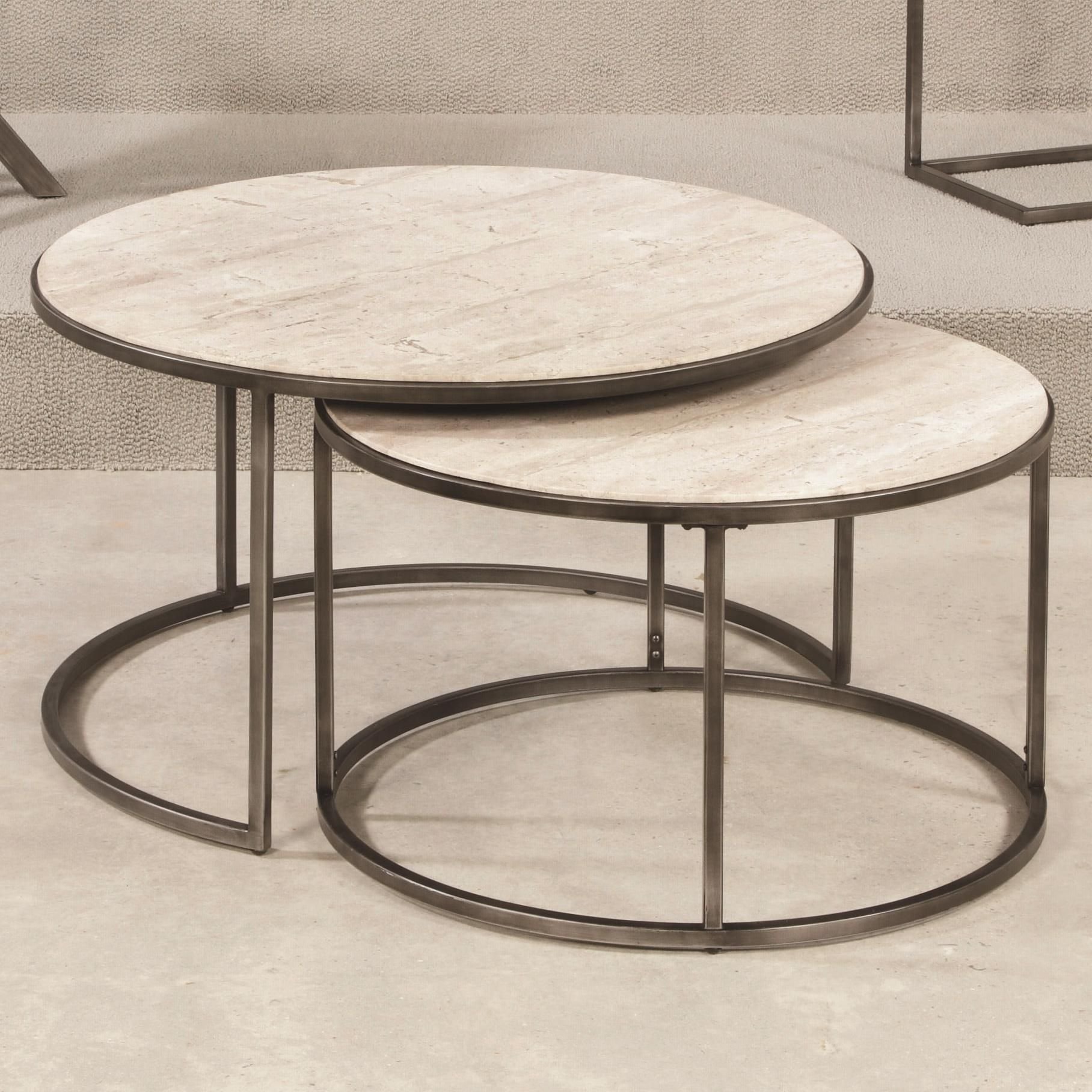 Modern basics round cocktail table with nesting tables by hammary hammary modern basics round cocktail table natural travertine textured bronze coffee tables at hayneedle geotapseo Images