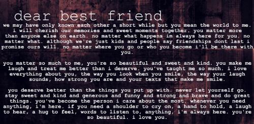 Dear Best Friend Tumblr | Quote Addicts
