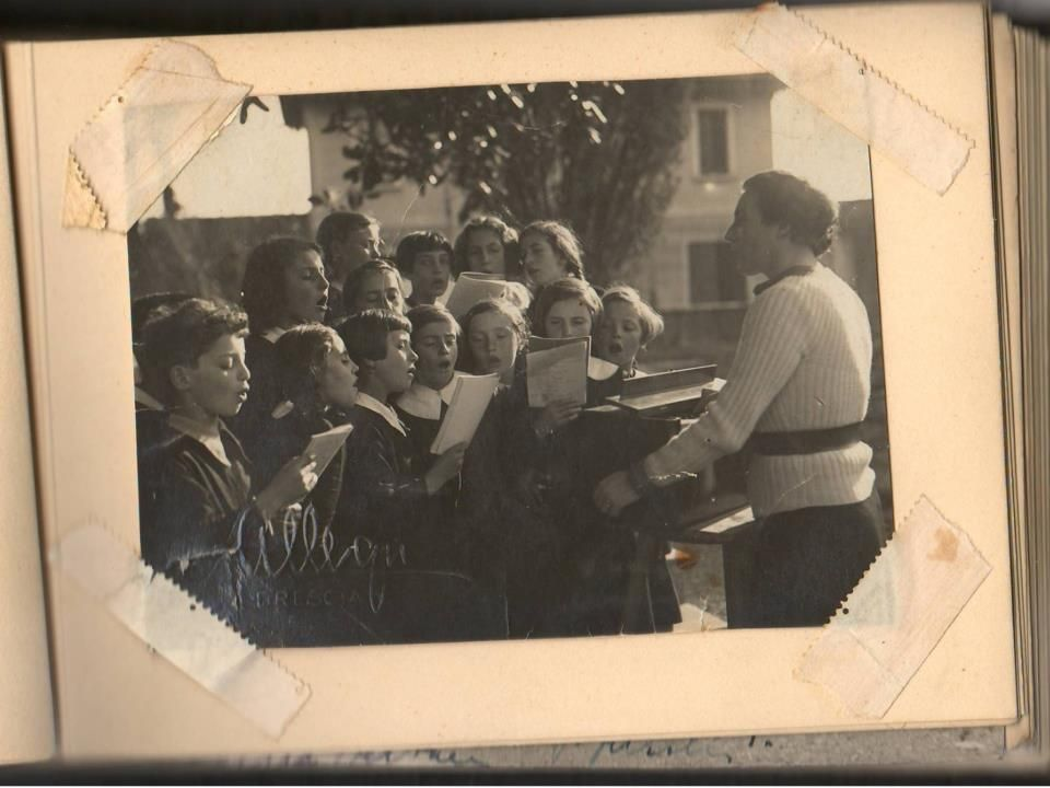 My mother singing with other girls. Brescia, Italy, 1937.