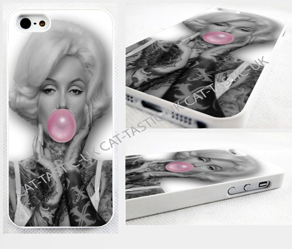 case,cover fits iPhone models Marilyn Monroe/gum/VTG/Vintage/tattoo,tattooed
