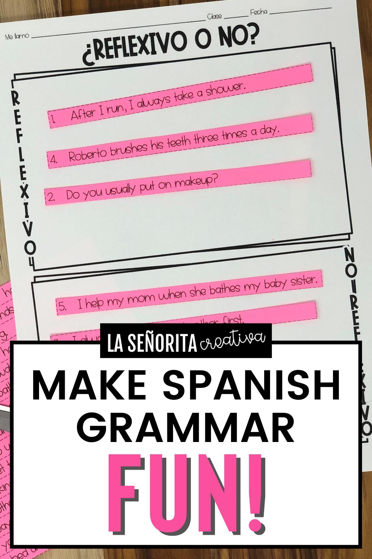 Reflexive Verbs In Spanish Activities Sorting Activities English Sentences Spanish Students [ 1500 x 1000 Pixel ]