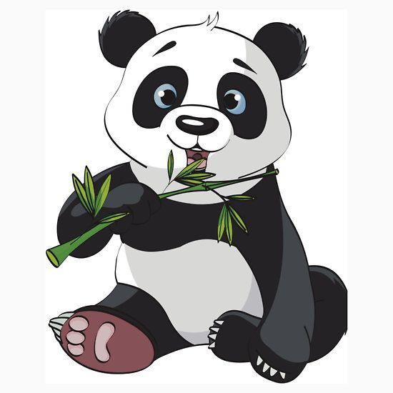 Cute Panda Eating Bamboo Leaves Digital Design Kids