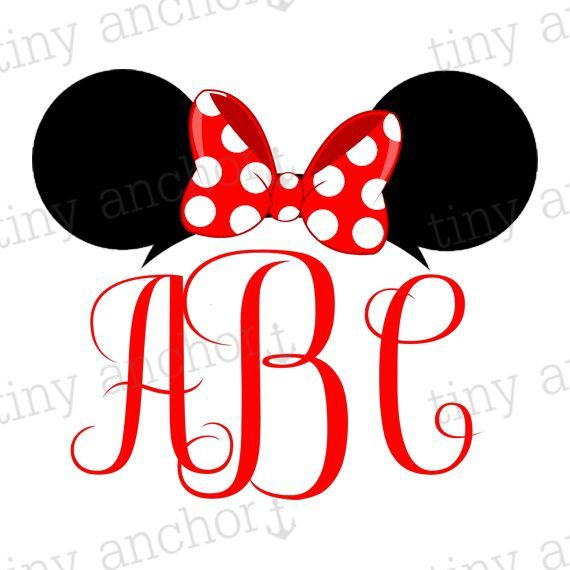Choose Your Color Printable Personalized Minnie Mouse Ears Monogram
