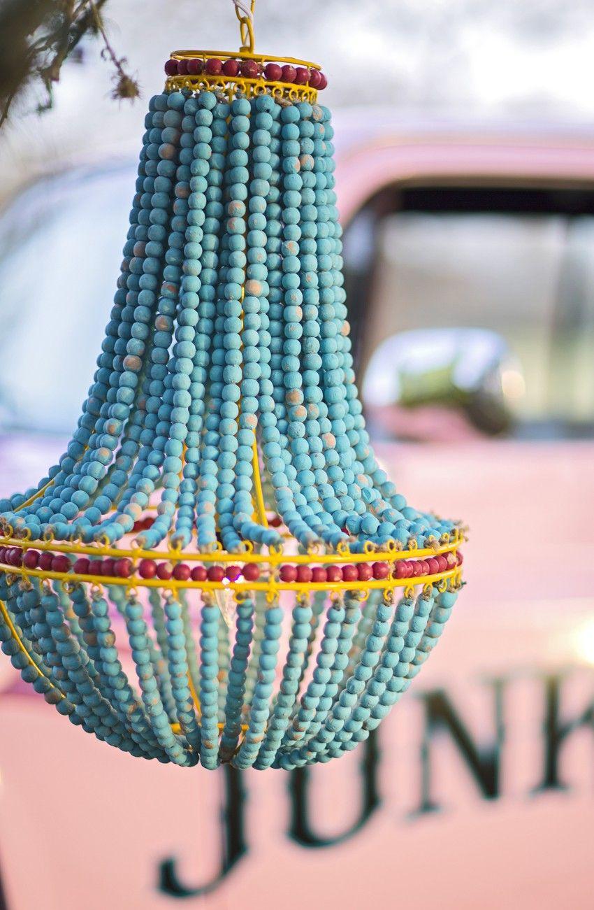 The wanderlust WOODEN BEADED CHANDELIER // turquoise chandelier // boho glamping inspiration. // Junk GYpSy co.