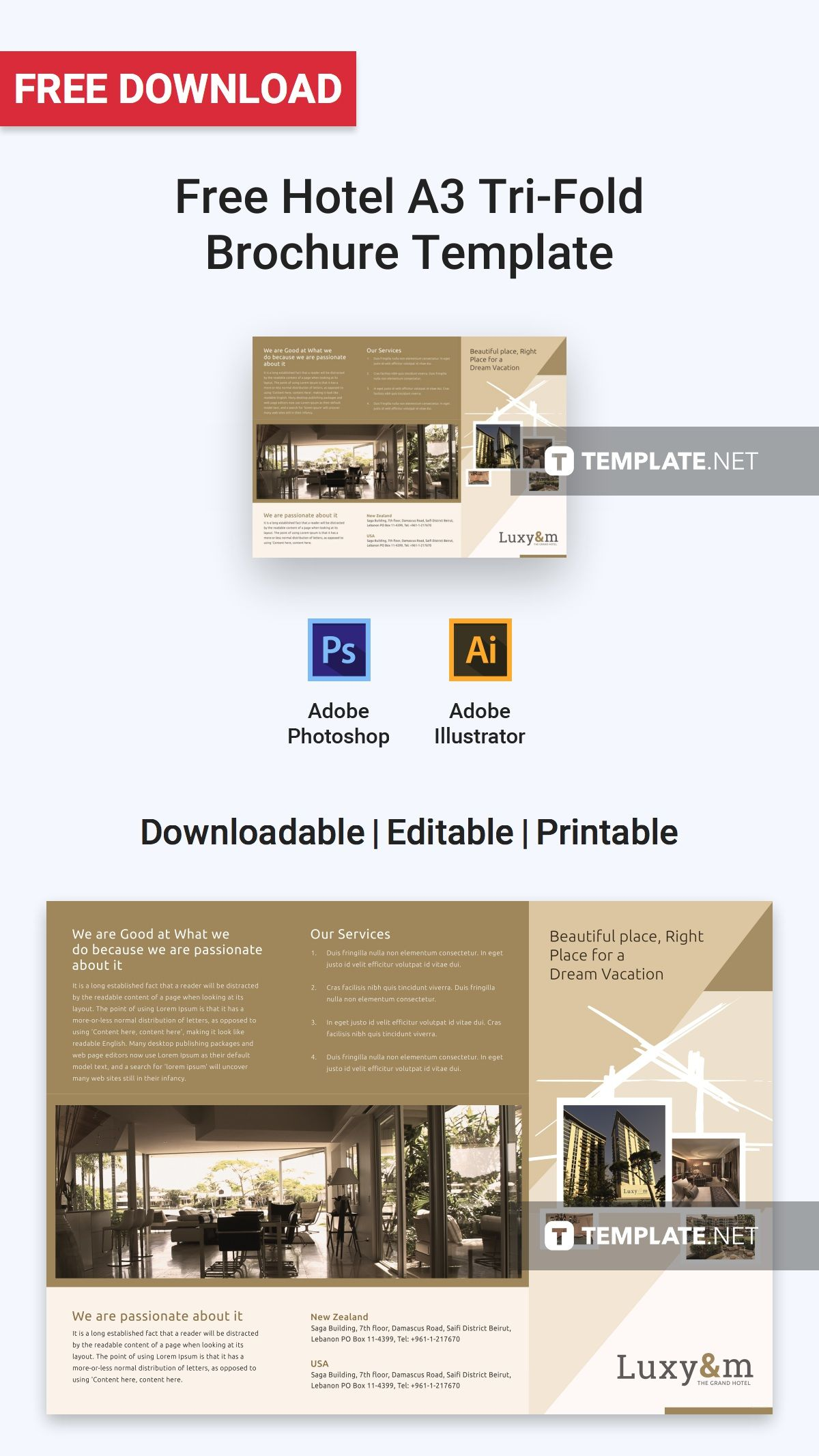 Free Hotel A3 Tri Fold Brochure Template Word Doc Psd Apple Mac Pages Illustrator Publisher Brochure Template Brochure Design Template Brochure