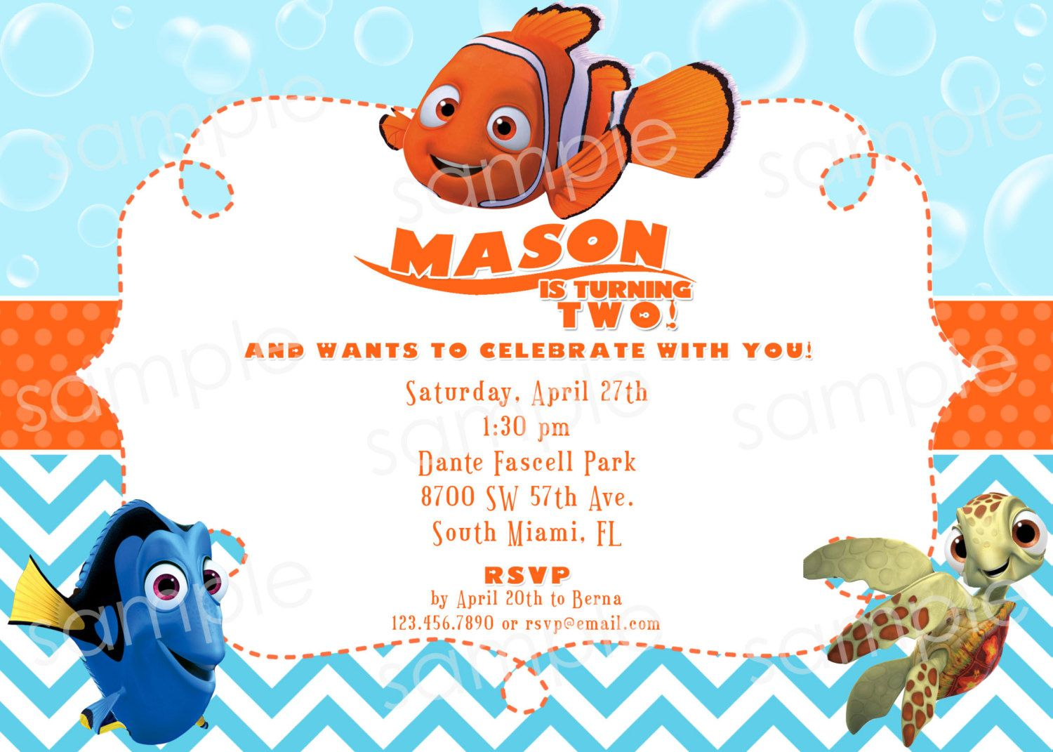 Finding Nemo Birthday Invitation DIY Digital By Modpoddesigns - Digital birthday invitation template