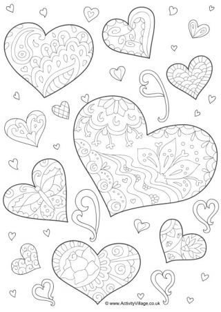 Doodle Hearts Colouring Page Heart Coloring Pages Valentine Coloring Pages Doodle Coloring