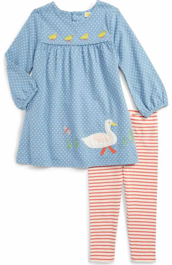 Free shipping and returns on Mini Boden Embroidered Top & Stripe ...