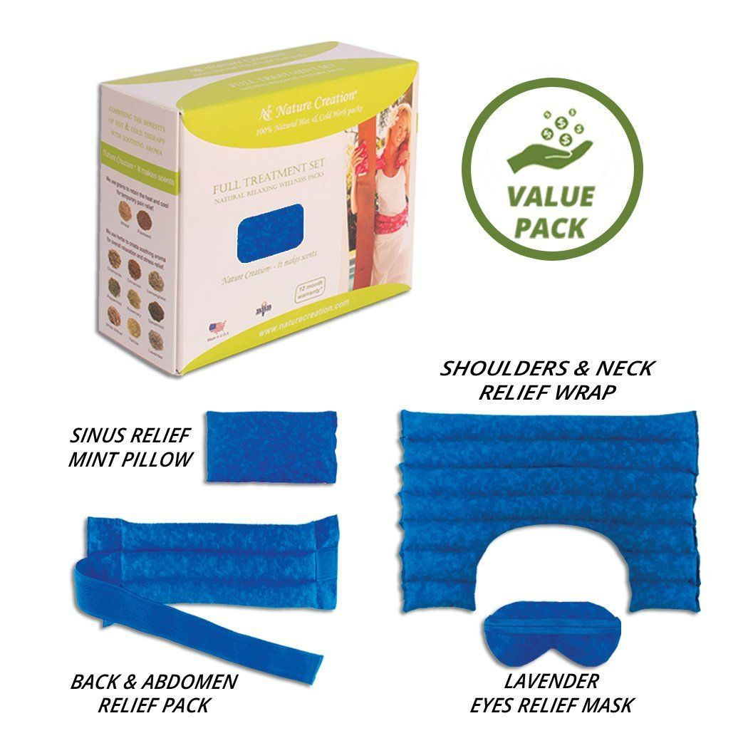 Nature Creation Full Treatment Set- Herbal Heating Pad / Cold Pack - Hot and Cold Therapy (Blue Marble) -- Want additional info? Click on the image.