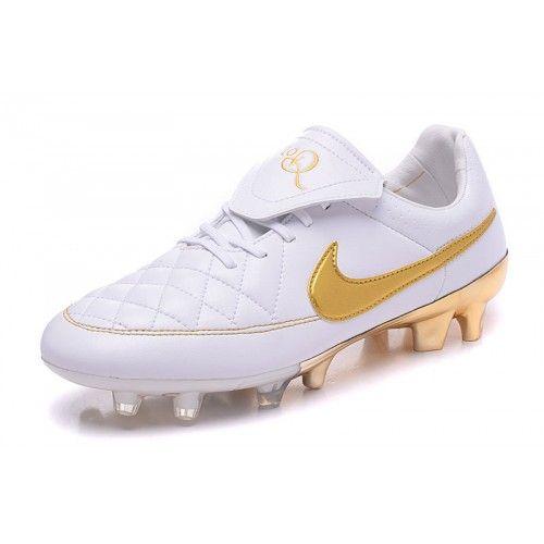 huge selection of a1e92 376ea Ny Nike Tiempo R10 FG Vit Guld Fotbollsskor