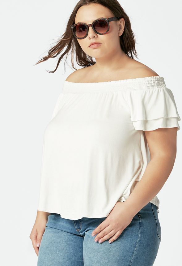 ed8964bbed1db JustFab Smocked Top Womens White Size 3X