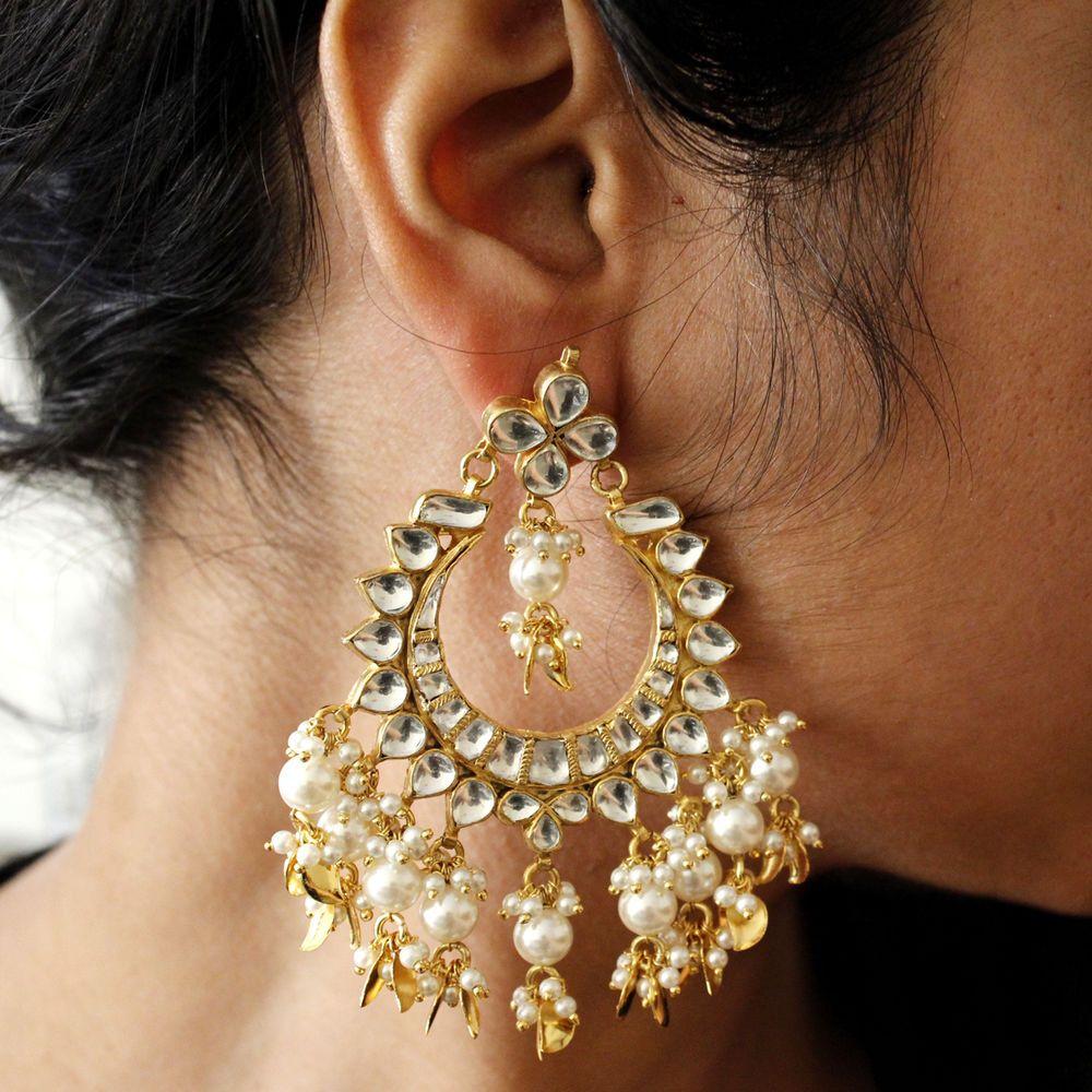 22kt Gold Platinum: Statement Bollywood 22KT Gold Plated Silver Kundan