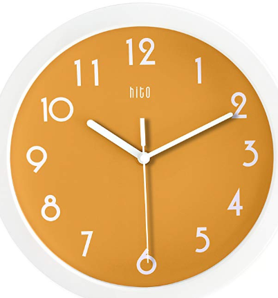 Hito Silent Kids Wall Clock Non Ticking 10 Inch Excellent Accurate Movement Glass Cover Orange Wall Clock Kids Wall Clock Orange Wall Clocks