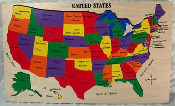 US Map Puzzle. Educational toy puzzle for learning and ...