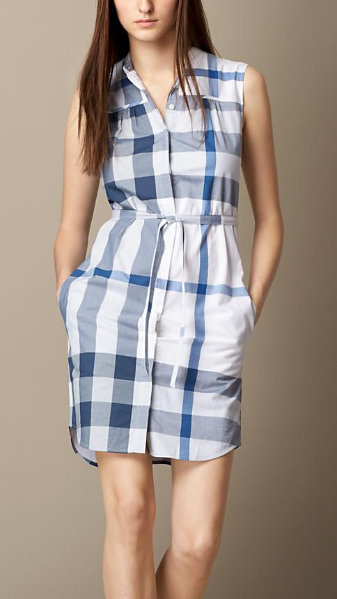 02f26003777f Burberry Brit Lupin Check Cotton Voile Shirt Dress - A sleeveless cotton  voile shirt dress. The straight silhouette features a belted waist and a ...