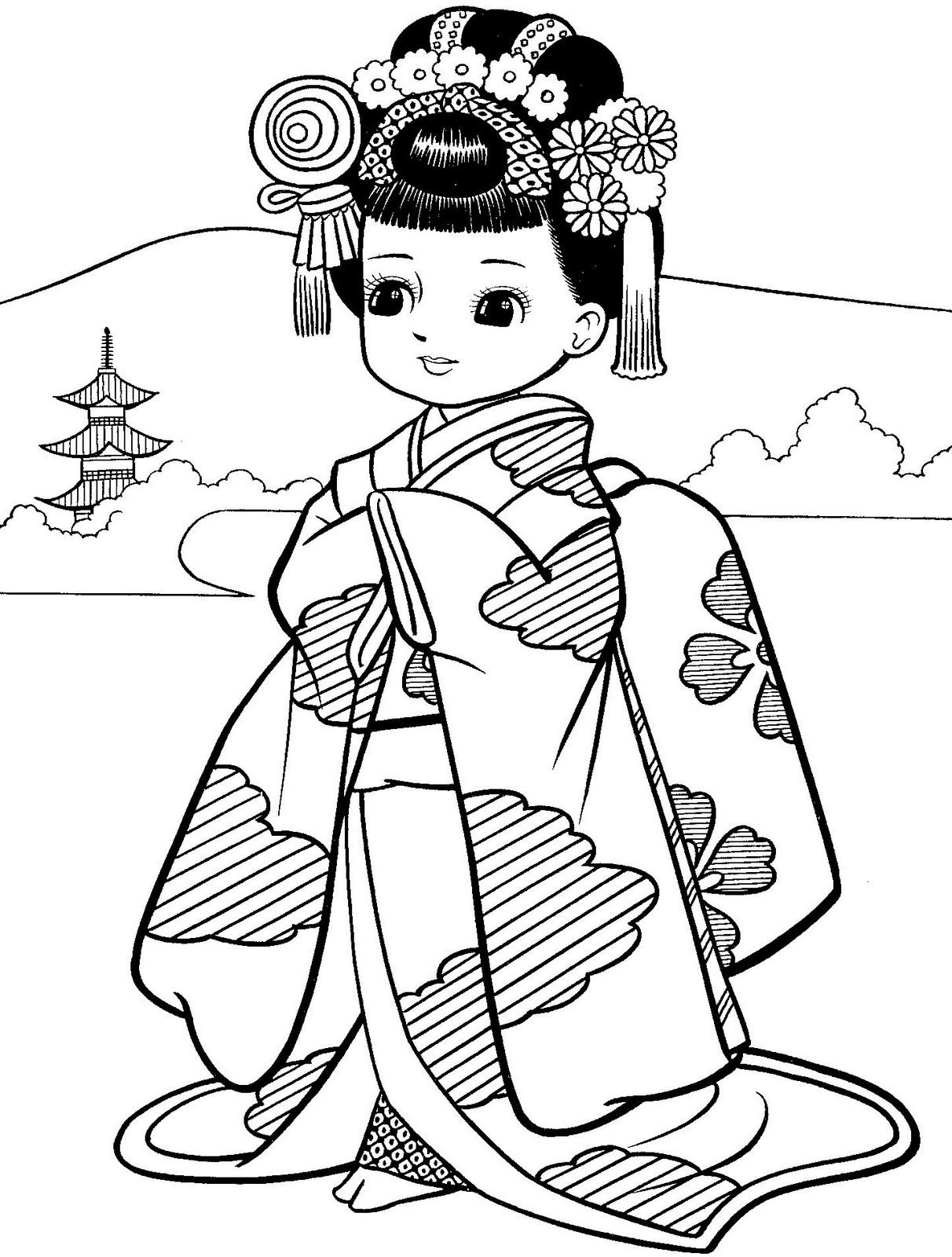 Girl In Kimono With Images Coloring Pages Asian Quilts