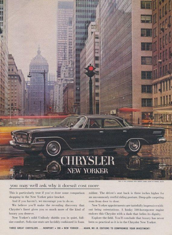 1962 Chrysler New Yorker Car Ad Mad Men Era Vintage Advertising NYC Photo Print, Wall Art Decor