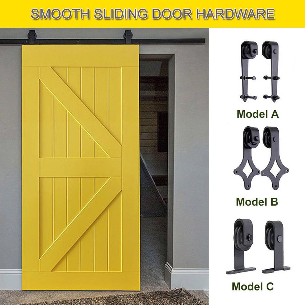 6 6 6 Ft Sliding Barn Wood Door Hardware Closet Top Hanger Roller Stopper Rail Sliding Door Hardware Sliding Wood Doors Sliding Doors