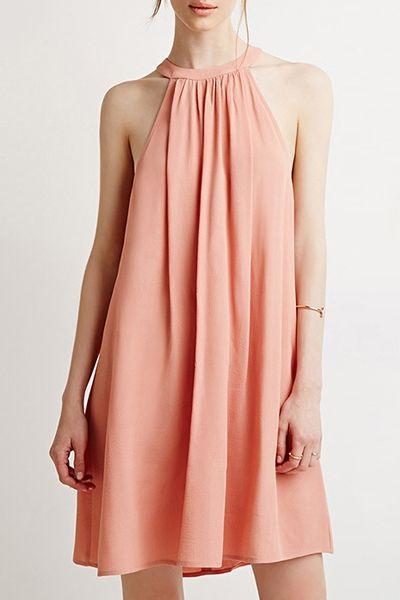Light Pink Round Neck Sleeveless Dress