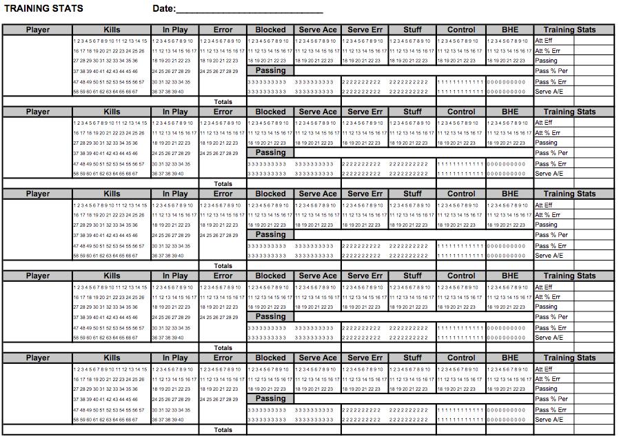 Training Stats Recorder Sheets Volleyball Ideas Pinterest
