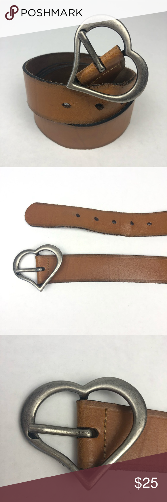 Heart Buckle Brown Leather Belt Made In Guatemala Brown Leather Belt Leather Brown Leather