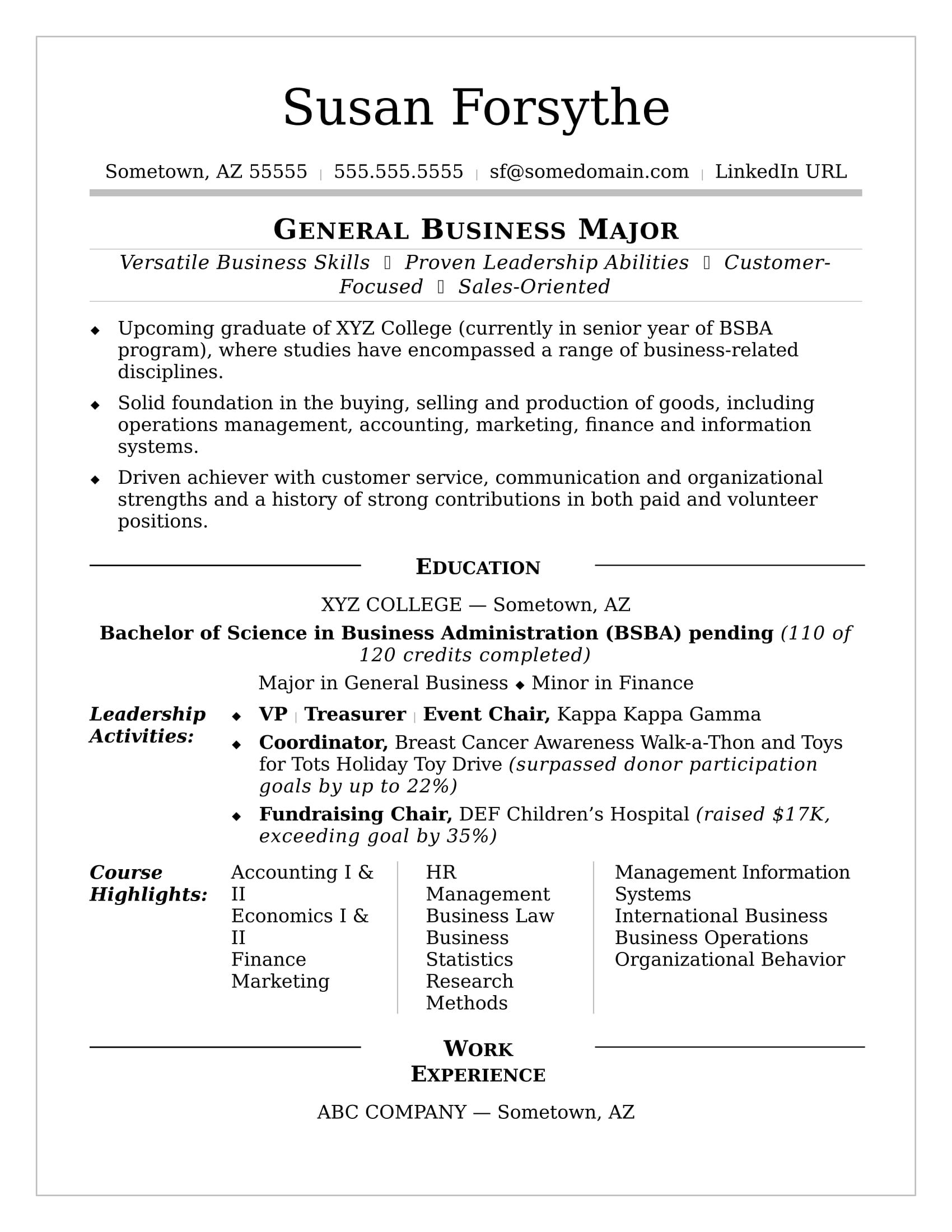 resume examples for college students    college  examples