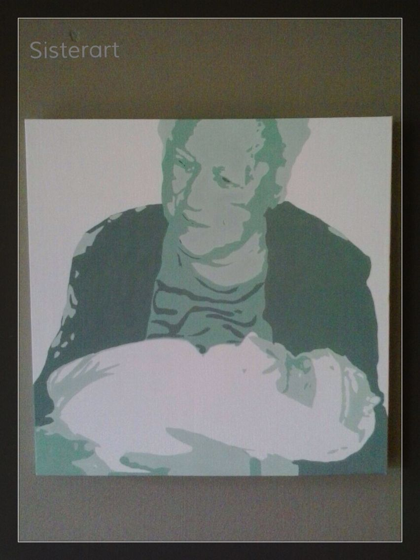 Oma met kleinkind Groen tinten Popart-SisterArt