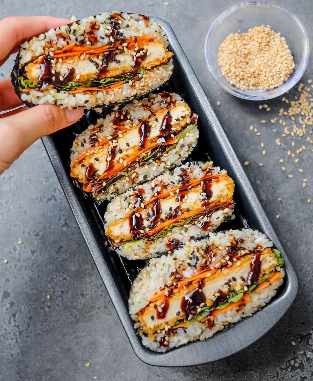 Jeeca Uy Vegan 20 On Instagram Katsu Sushi Sandwiches Or Onigirazus I Used Japanese Sushi Rice Wrapped I Vegan Recipes Easy Sushi Recipes Sushi Rice