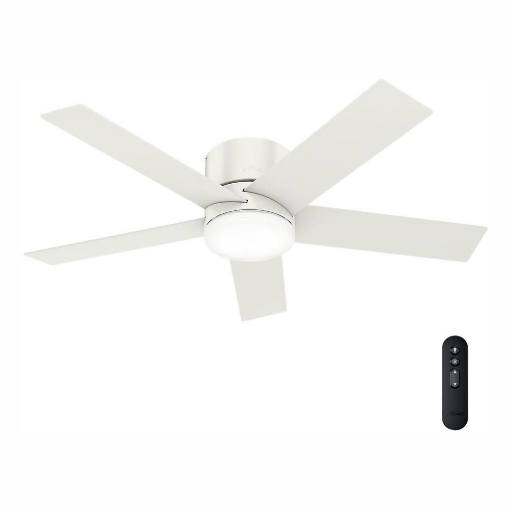 Hunter Vicinity 52 In Led Indoor Fresh White Ceiling Fan With Integrated Light Kit And Handheld Remote 59565 The Home Depot White Ceiling Fan Ceiling Fan White Ceiling
