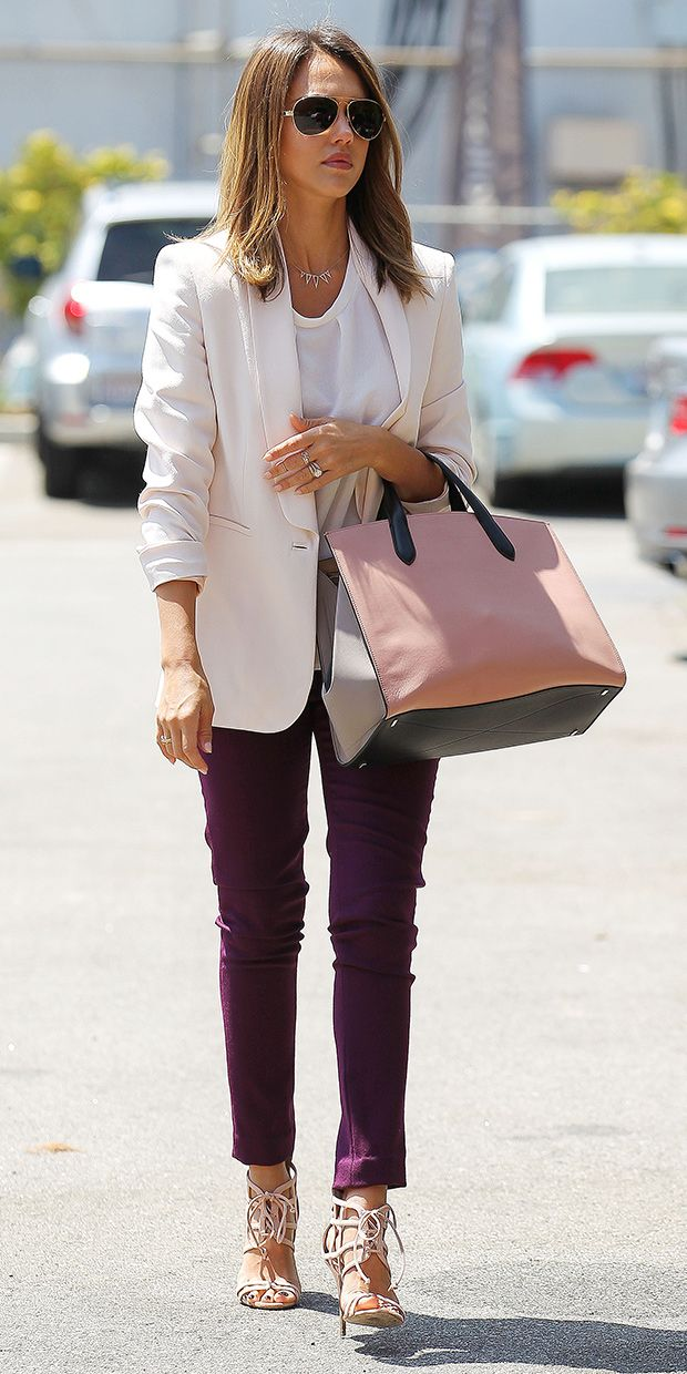 Jessica Alba looks ultra cool as she offsets a deep colored pant with a fresh, pastel blazer. // #Fashion