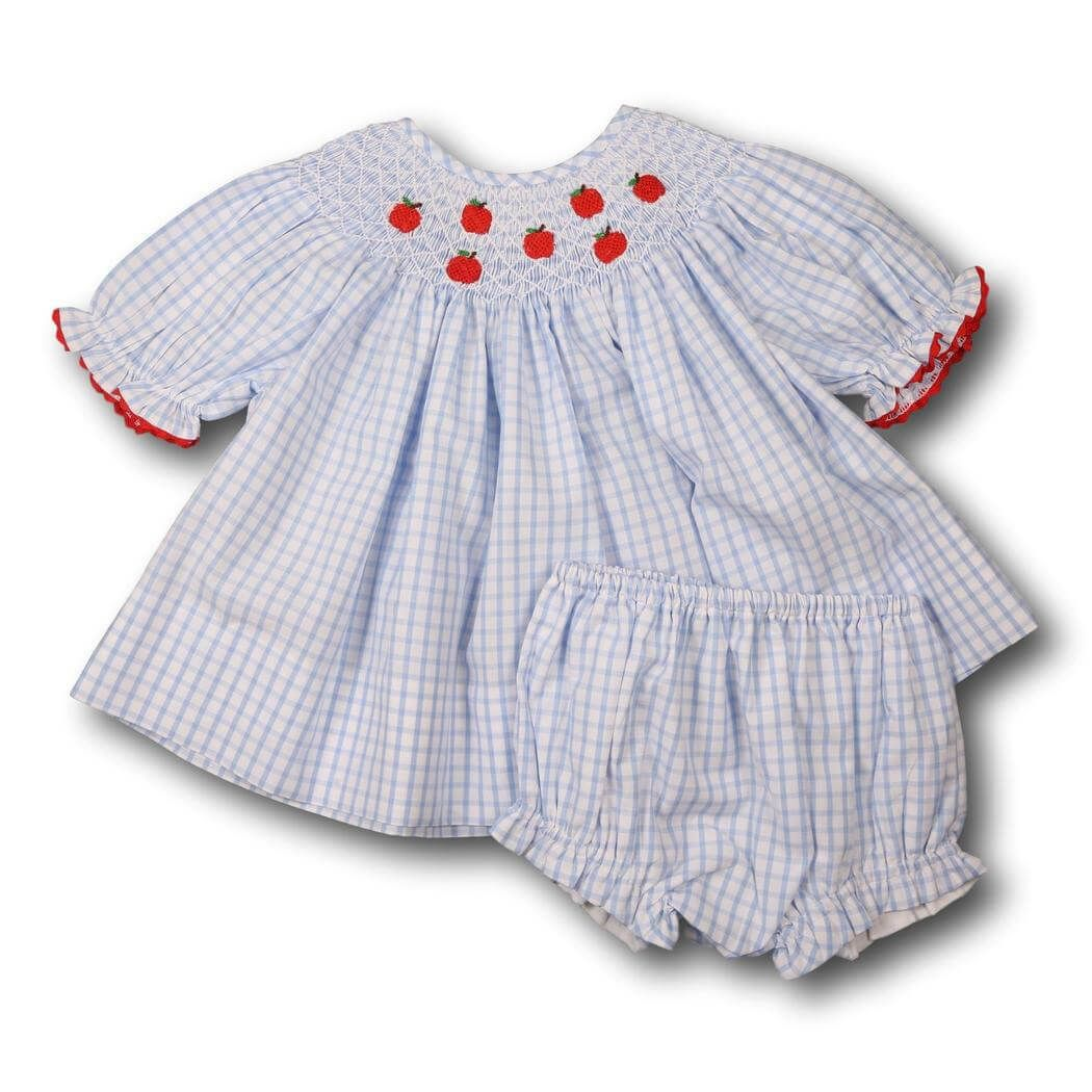 4b6b6848 Blue Windowpane Apple Ruffle Diaper Set - Smocked Threads by Cecil and Lou