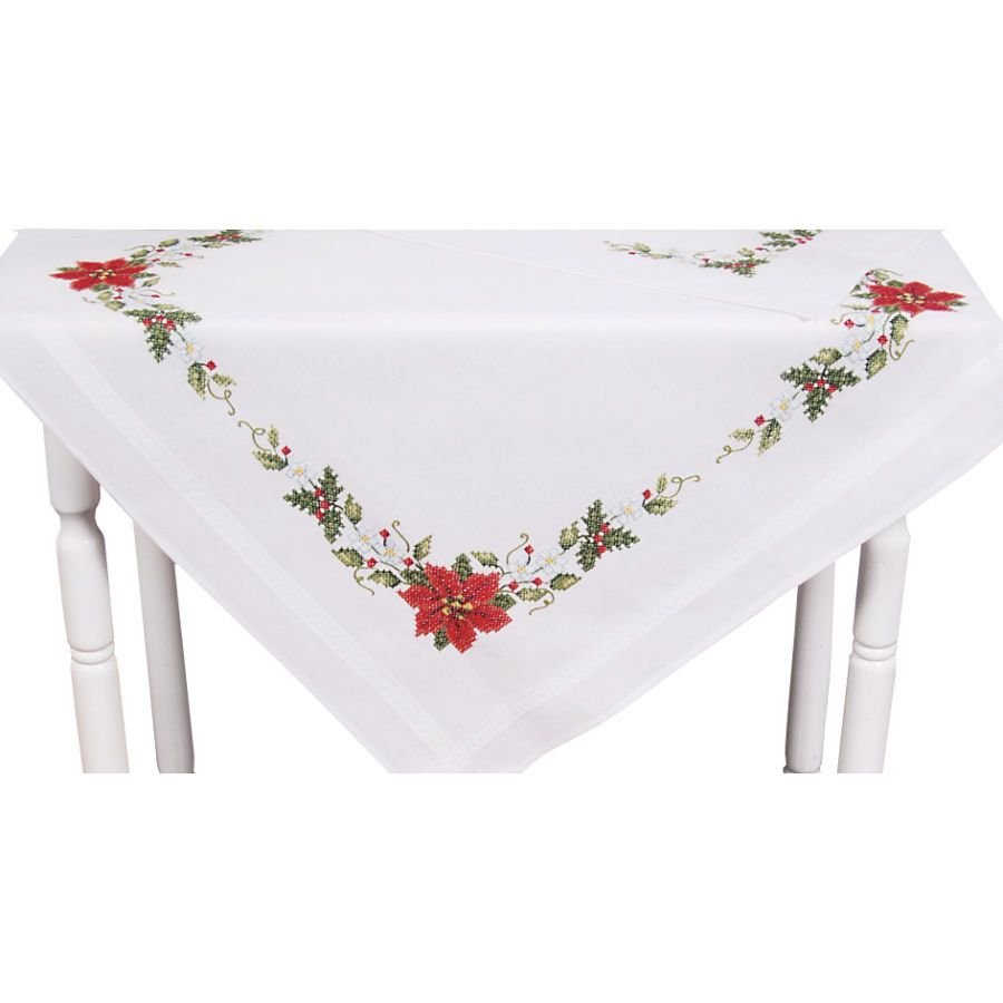 Poinsettia Damask Tablecloth - Cross Stitch, Needlepoint, Embroidery Kits – Tools and Supplies