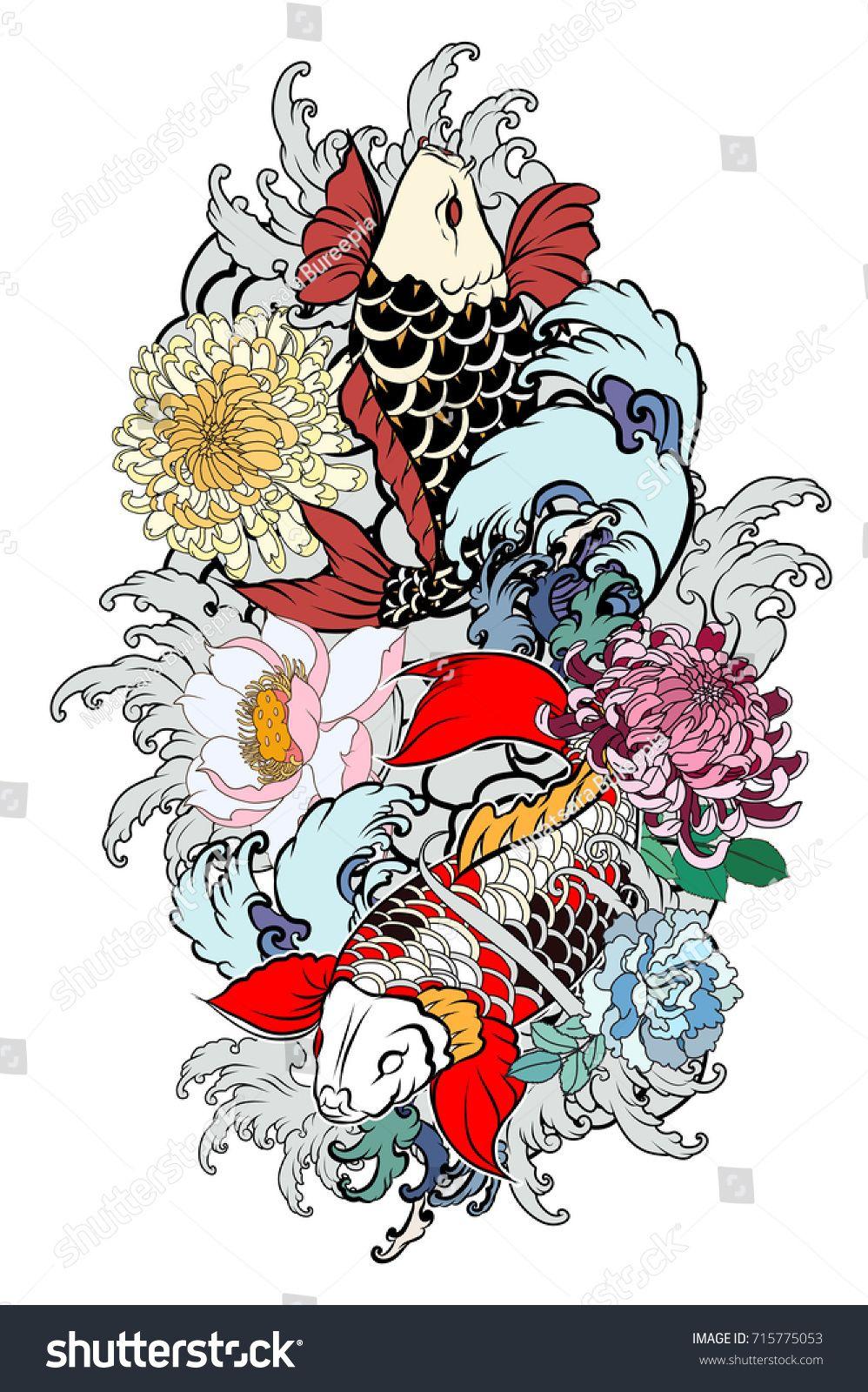 Beautiful Colorful Koi Carp With Water Splash Lotus And Peony Flower Traditional Japanese Tatt Japanese Tattoo Designs Japanese Peony Tattoo Japanese Tattoo