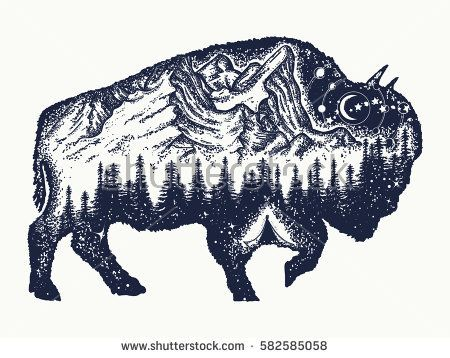 Bison Tattoo Art Buffalo Bull Travel Symbol Adventure Tourism Mountain Forest Night Sky Magic Tribal Bi Toro Tatuaje Tatuajes De Animales Tatuaje Bisonte
