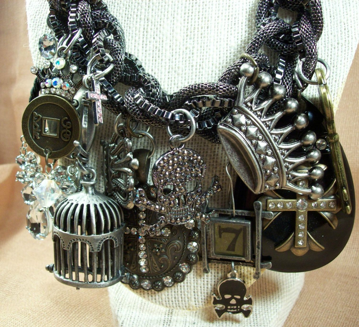 Ebony Noir Dark And Unusual Trash Glam Skull Iconic Fierce Brutalist Mystical Pirate Swag Ohio Made Louzart Mixed Media Gothic Original OOAK