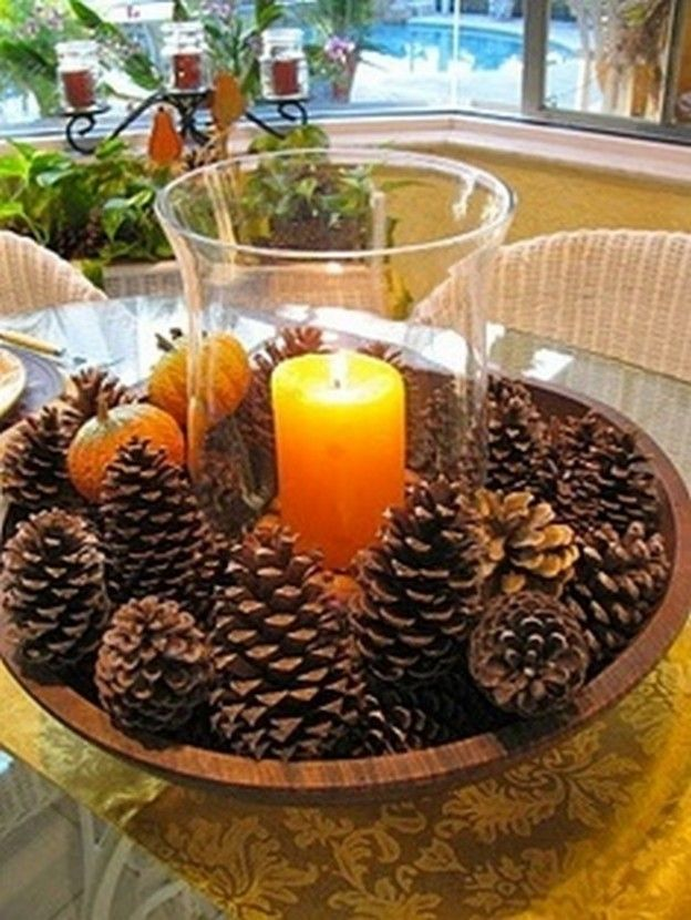 Thanksgiving table centerpiece ideas 22 pics hurricane light 20 effortlessly beautiful diy fall centerpieces need a centerpiece that takes less than five minutes to make just place pine cones in a large bowl and solutioingenieria Images