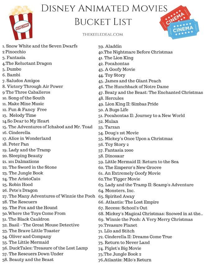 {Free Printable} Eimer-Liste mit Disney-Animationsfilmen #disney #movies #freeprintab ... - #disney #netflixmovies